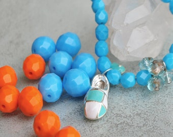 Bohemian beads faceted turquoise and Tangerine - faceted Czech glass 10 mm - enamel charm silver and turquoise - white shoe