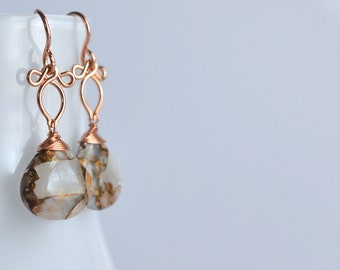Andressa - Copper Calcite, 14k Rose Gold Filled Earrings