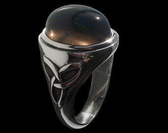 Celtic ring - Sterling Silver Pagan Triquetra Ring with Smoky Quartz -  -  ALL SIZES