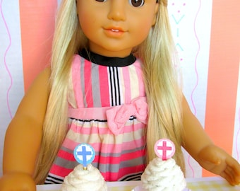 """American Food 18"""" Girl Doll Easter Cupcakes Religious Christian Cross Cakes Doll First Communion Spring Easter Accessory with Plate Dessert"""