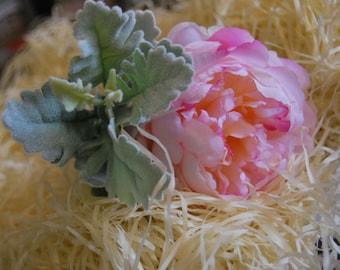 Artificial Silk Peony Single Stem with Foliage