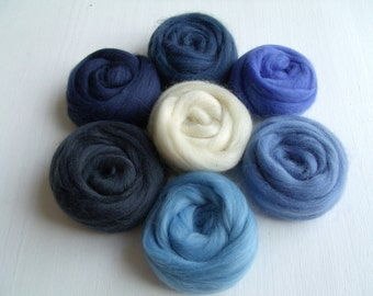 "Set of 7 colors ""Blue"" wool felting or spinning Merino 70g"