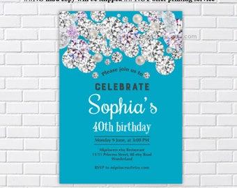 Birthday invitation, woman birthday, elegant birthday, teal invitation, diamond party, diamond invitation, adult birthday,  card 971
