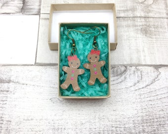 Gingerbread man woman earrings