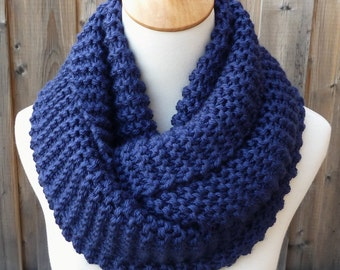 Navy Infinity Scarf - Dark Blue Infinity Scarf - Chunky Knit Scarf - Circle Scarf - Ready to Ship