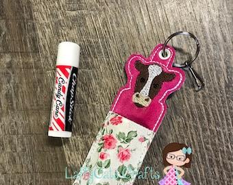 Handmade Cow and Flowers Chapstick Holder, Chapstick Case, Lip Balm Holder, Lip Balm Case, Keychain, Chapstick Keychain Lip Balm