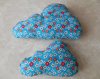 Blue flower cloud shaped pillow red and white