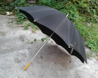 Umbrella rain Parasol black cotton Old Mid century Cane brolly folding Womens mens brollies Mary Poppins Steampunk Theatre props Rainy day