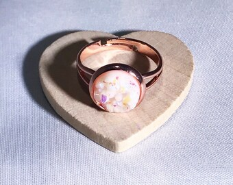 NEW - Opal Druzy Ring with Rose Gold Adjustable Band