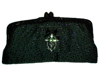 Beautiful PURSE, vintage, upcycled, handbag, bridal, antique, clutch, dark green, wedding, accessory, gift