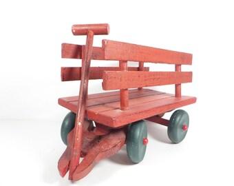 Vintage Red Wood Wagon - Red and Green Wood Christmas Wagon