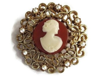 Victorian Revival Lady Cameo Brooch Molded Celluloid & Faux Pearl Filigree signed JJ
