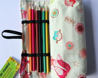Large Pencil Roll - Holds 24 pencils (included) - cream woodland animals, fox