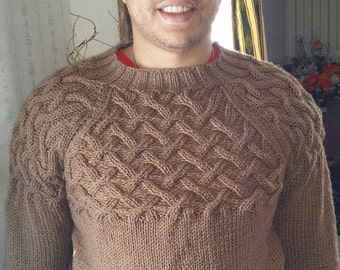 Men Hand Knit Sweater size L Brown (cafe latte) color