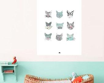 Plakat-Katzen, Katze, Katzen, Kinder Zimmer Kunstposter print, A3 Print-Illustration Aquarell