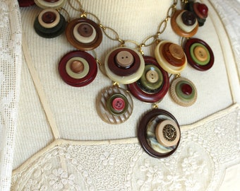 Vintge plastic stacked button assemblage necklace layered Fall colors statement jewelry