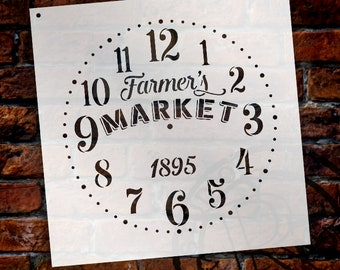 Provincial Round Clock Stencil - Farmers Market Words -  Small to Extra Large DIY Painting on Wood Farmhouse Country Home Decor -SELECT SIZE