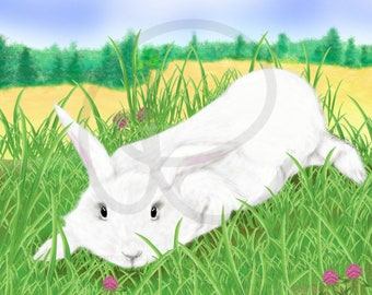 Spring Wallpaper, White Bunny Rabbit on Clover Meadow (for Desktop/Laptop, Tablet and Cell Phone), 6 files in Zipped Folder