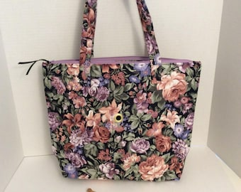 Large Knitting Bag, Knitting Project Bag, Black N Pink Knitting Bag, Flowered Knitting Bag