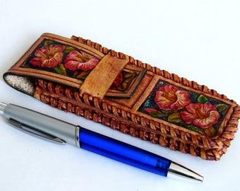 New pencil case, leather case in retro (vintage) style, Leather Pencil Case, Handmade Leather Pencil Case, Leather Pen Case, leather pencase