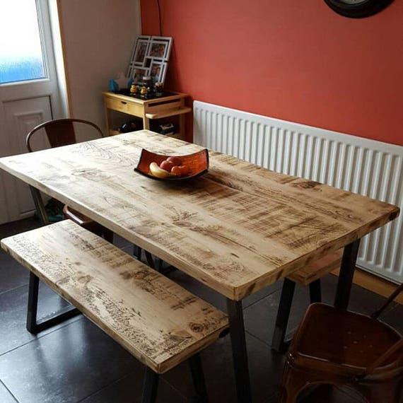 John Lewis Calia Style Industrial Reclaimed Dining Table V Frame Steel Base Handmade UK