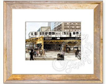 Chicago 5x7 Print in 8x10 mat, Windycity, Subway, Railway, City Print, watercolor