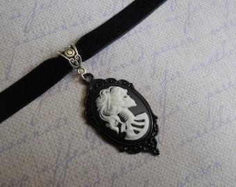 Gothic Lolita skeleton lady cameo velvet choker necklace