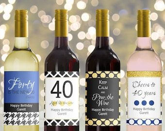 Editable Wine Bottle Labels for 40th Birthday printable, Black gold Blue navy Custom wine Labels, Personalized Mini Wine bottle, 3 sizes