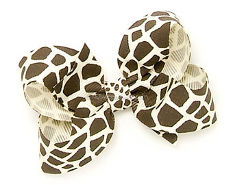 Giraffe Boutique Bow, 3 inch Hair Bow, Twisted Boutique Bow, Animal Print Hairbow, Baby Girl Toddler Hairbows