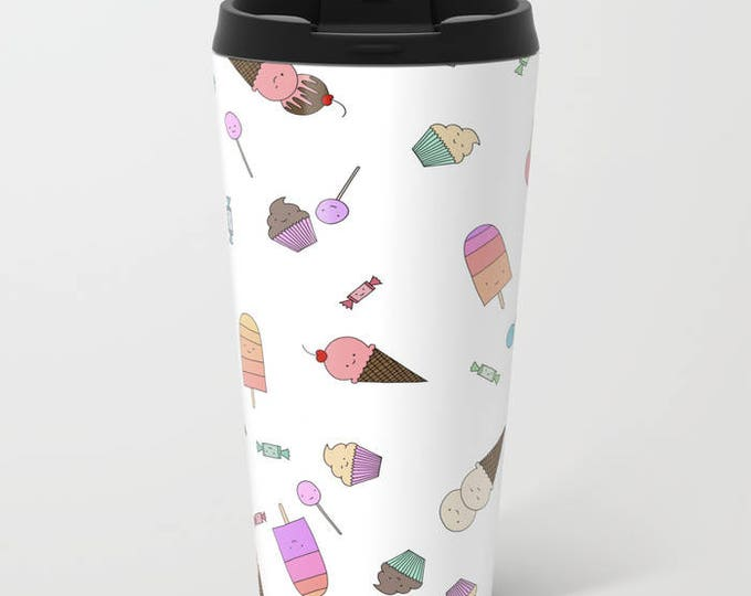 Candy and Ice Cream Travel Mug Metal - Coffee Travel Mug - Hot or Cold Travel Mug - 20oz Mug - Stainless Steel - Made to Order