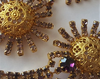 Unusual Vintage Jewelry Set Czech Rhinestones Necklace Bracelet