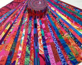 "Kaffe Fassett Collective Bold Bright Strip Roll 2.5"" Precut Fabric Quilting Cotton Strips Jelly Roll Free Spirit"