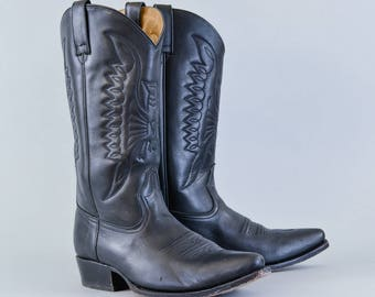 Vintage Buffalo Black Leather Cowboy Boots Western Men's UK 8 EU 42 US 9