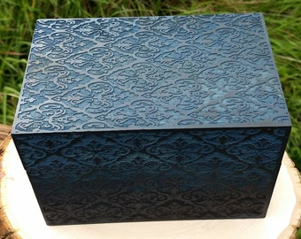 Blue, Laser Engraved, Jewelry box, Essential Oil Storage box,Tarort Storage box