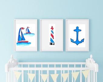NAUTICAL NURSERY WATERCOLORS- nautical nursery watercolor painting art prints, sailboat art prints, lighthouse art prints, anchor art prints