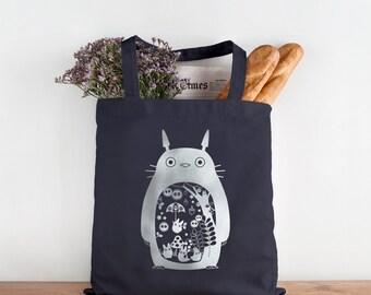 Totoro tote bag - My Neighbor Totoro black navy canvas bag - Studio Ghibli gift - silver foil organic bag - shopping bag