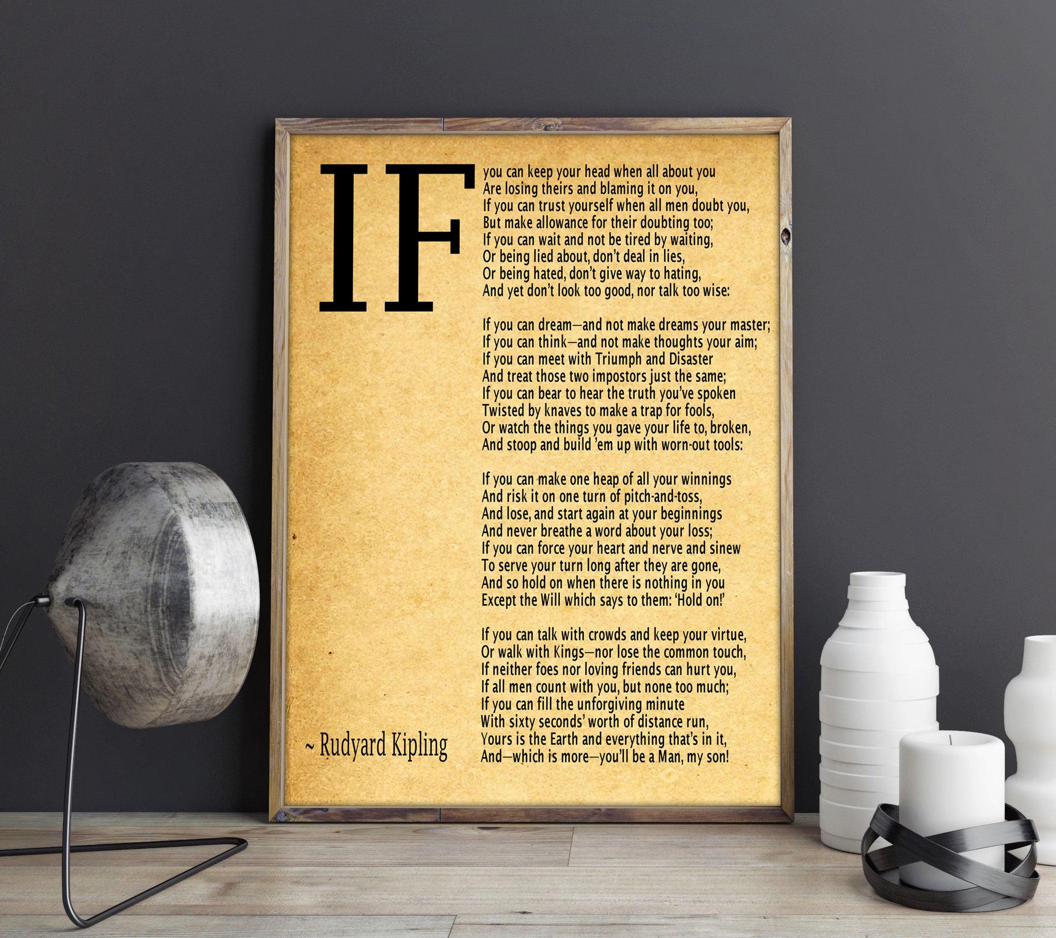 IF Poem Art Print IF Poem By Rudyard Kipling Art Print IF