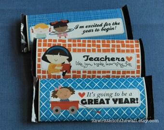 10 Teacher Appreciation Candy Bar Wrappers /Beginning of the School Year / Hershey Candy Bar Wraps / Teacher Recognition / thanks Teacher