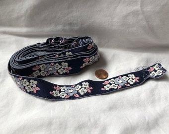 Vintage Blue Floral Embroidered Ribbon Bundle