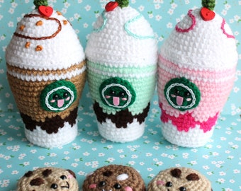 Crochet Food Strawberry, Mint and Chocolate Frappuccinos Crochet Plush+Special gift!