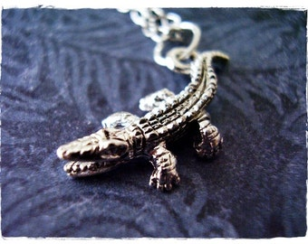 Silver Alligator Necklace - Silver Pewter Alligator Charm on a Delicate Silver Plated Cable Chain or Charm Only