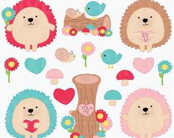 valentines day hedgehogs clipart digital clip art animals woodland - Valentine Hedgehogs Digital Clipart - BUY 2 GET 2 FREE