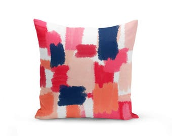 Throw Pillow Cover, Cushion Cover, Abstract Art, Navy Coral Pink Red Peach (A14) Decorative Pillow Cover Euro Sham Cover As seen in HGTV MAG