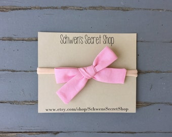 Hand tied bow, pink fabric bow, baby girl headband, school girl bow, baby headband, fabric headband, baby girl bow, nylon headband