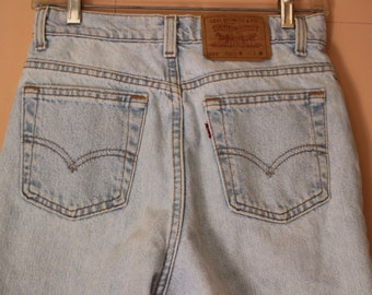 Levis Vintage 521 Jeans Tapered Fit Tapered Leg Size 8 Med Mom Jeans High Waist Red Tab