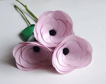 Handmade 3 Pink Fabric Flowers on Stems, Bouquet, Silk Floral Decor