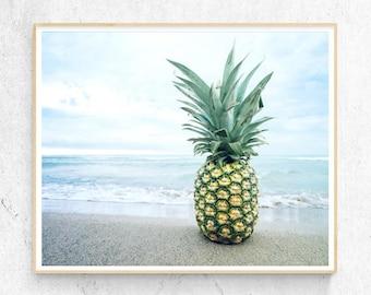 Tropical Pineapple Beach Art Print, Coastal Photography, Waves, Modern Minimalist, Large Poster, Coastal Decor, Printable Digital Download