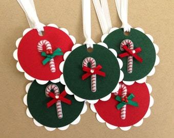 Christmas Tags - Candy Cane Holiday Tags - Christmas Hang Tags - Christmas Present Tags - Red and Green To From Tag - 3D Christmas Gift Tags