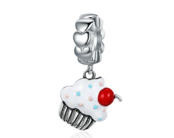 925 Sterling Silver Sweet Cherry Cream Cupcake Charm Fit Pandora bracelet