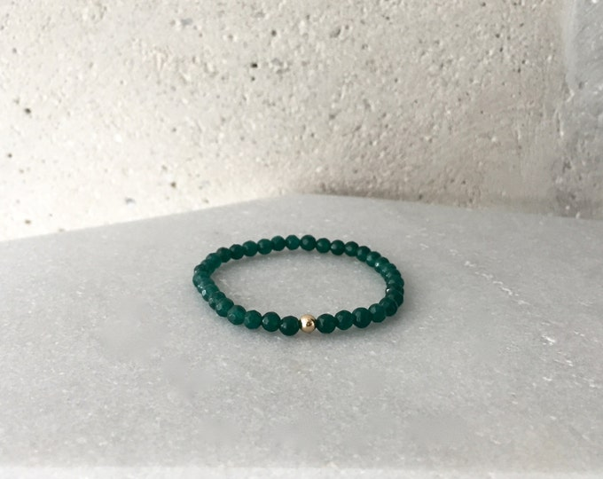 Small Jade Green Stretch Bracelet